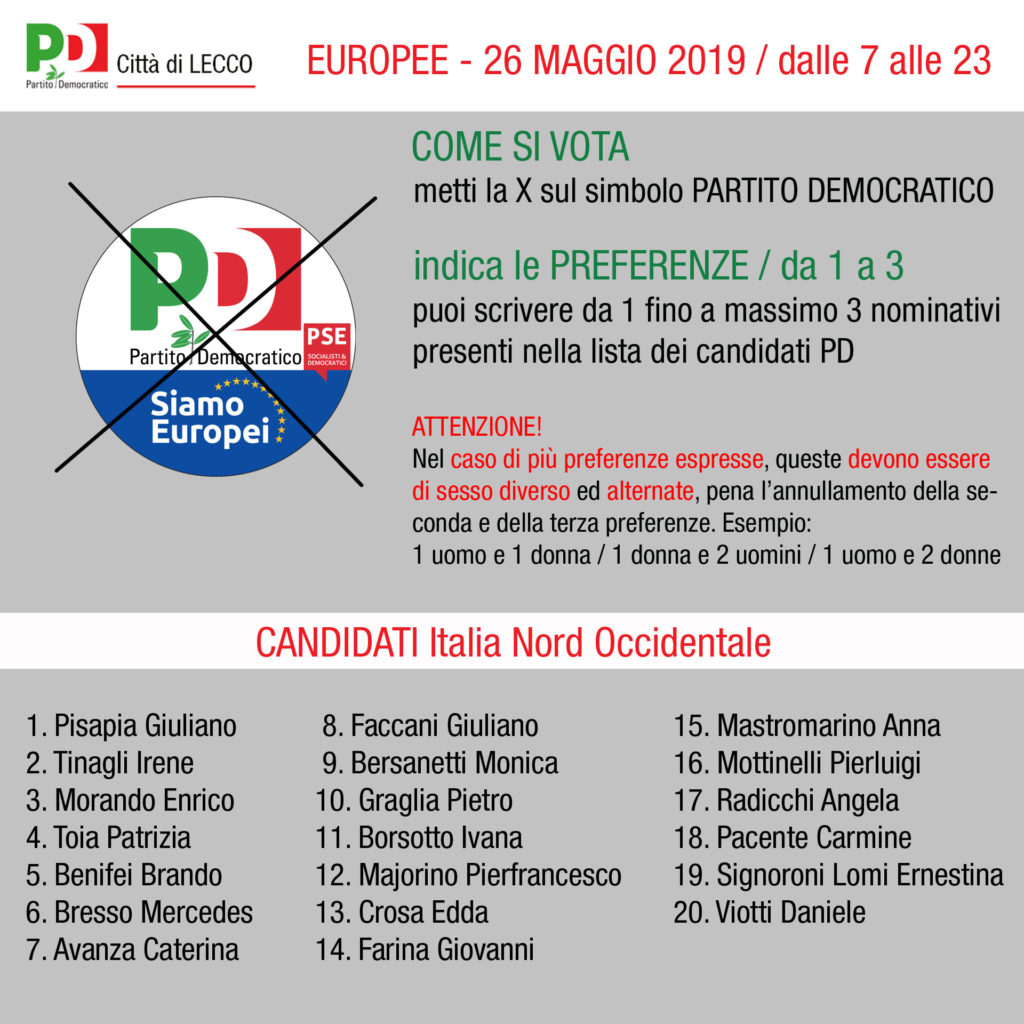 europee 2019 candidati pd nord occidentale